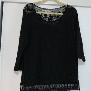 Lauren Conrad Textured Knit & Lace 3/4 Shirt